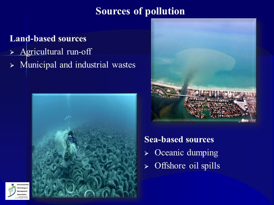 Sources of pollution Land-based sources Agricultural run-off