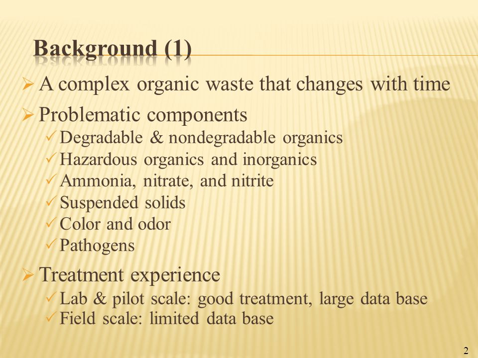 Background (1) A complex organic waste that changes with time
