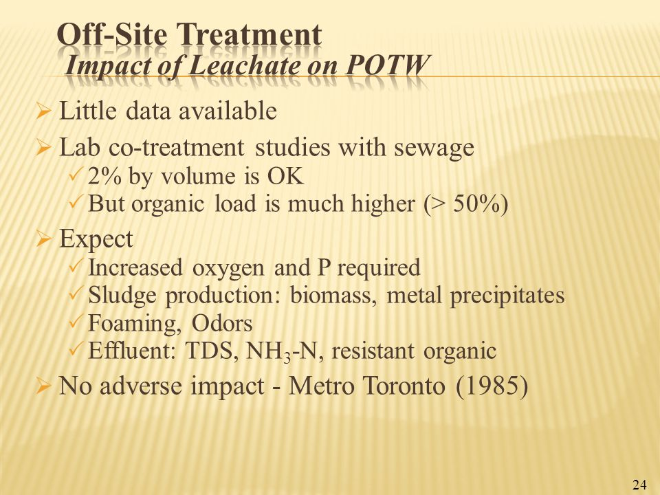 Off-Site Treatment Impact of Leachate on POTW
