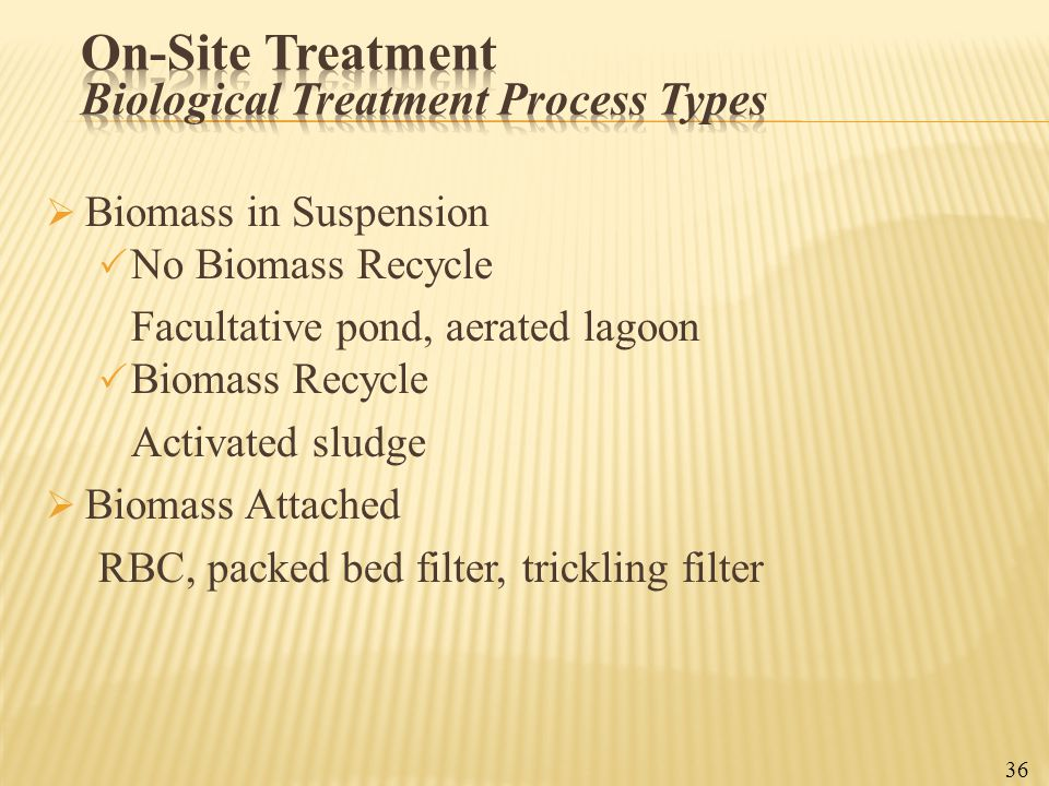 On-Site Treatment Biological Treatment Process Types