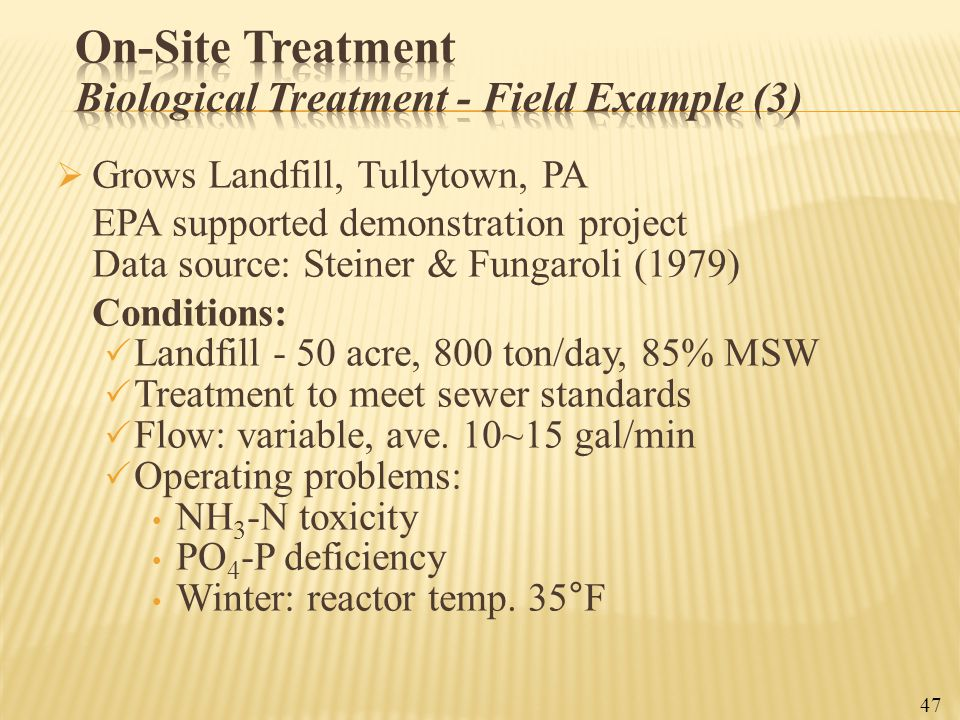 On-Site Treatment Biological Treatment - Field Example (3)