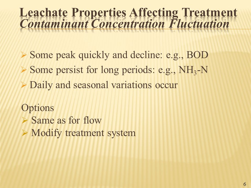 Leachate Properties Affecting Treatment Contaminant Concentration Fluctuation