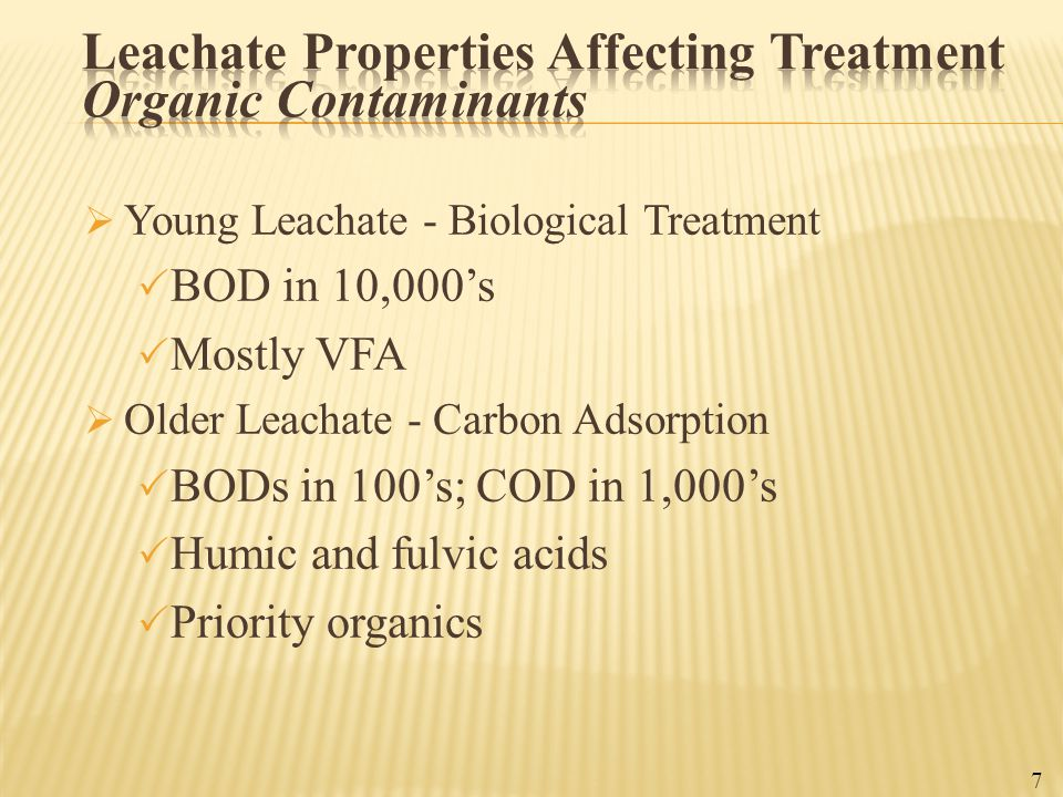 Leachate Properties Affecting Treatment Organic Contaminants
