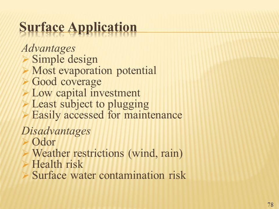 Surface Application Advantages Simple design