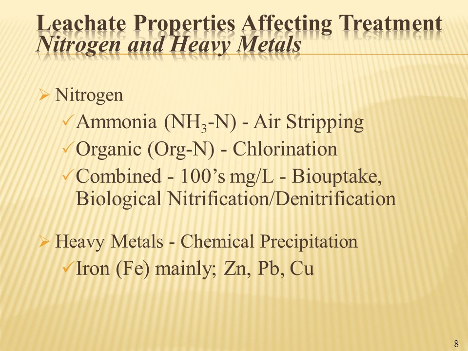 Leachate Properties Affecting Treatment Nitrogen and Heavy Metals