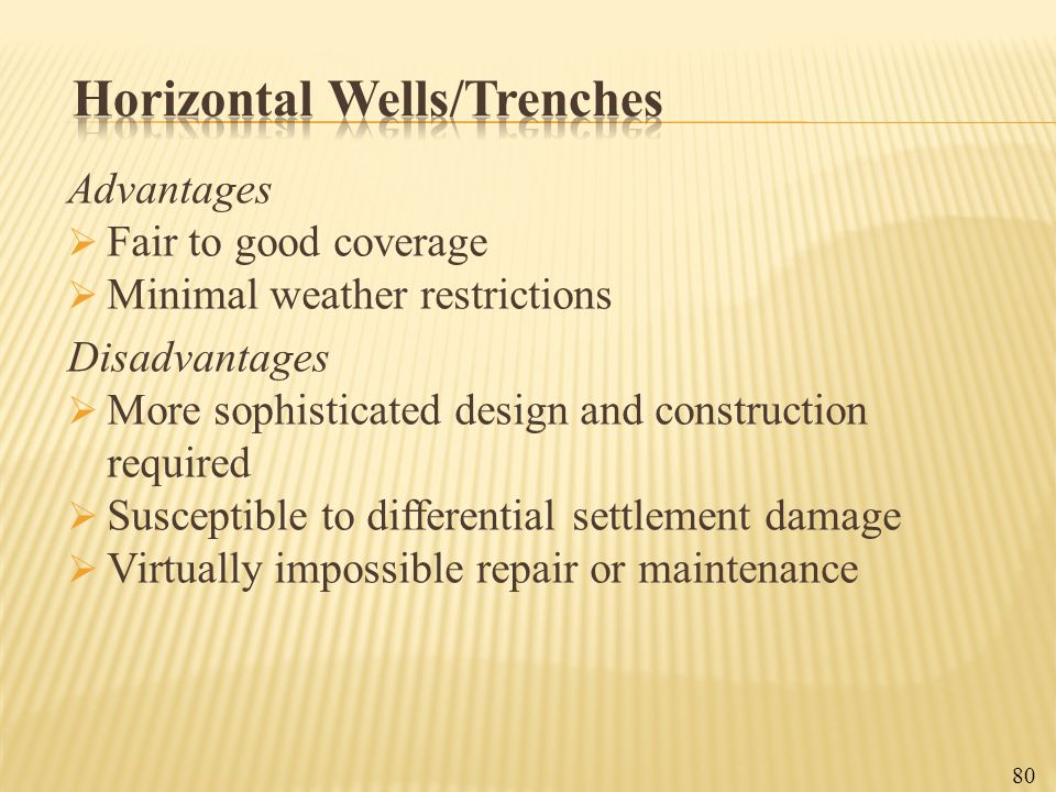 Horizontal Wells/Trenches