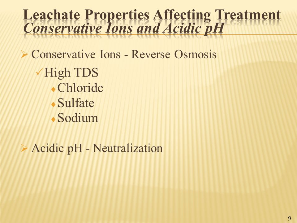 Leachate Properties Affecting Treatment Conservative Ions and Acidic pH