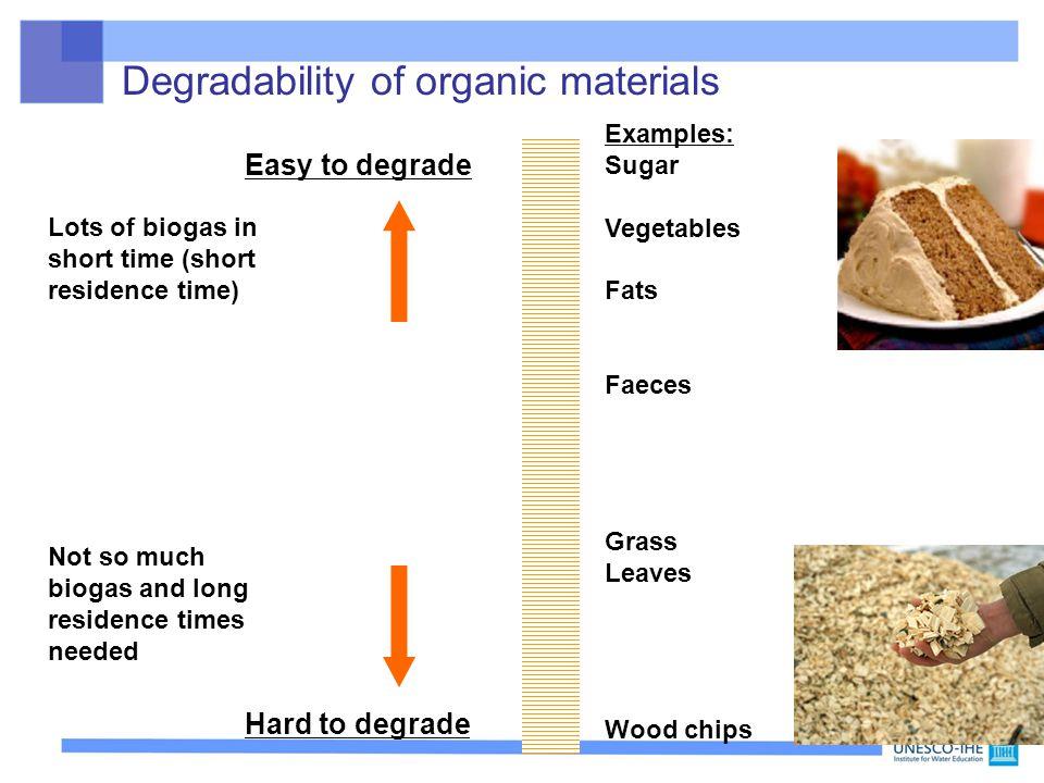 Degradability of organic materials