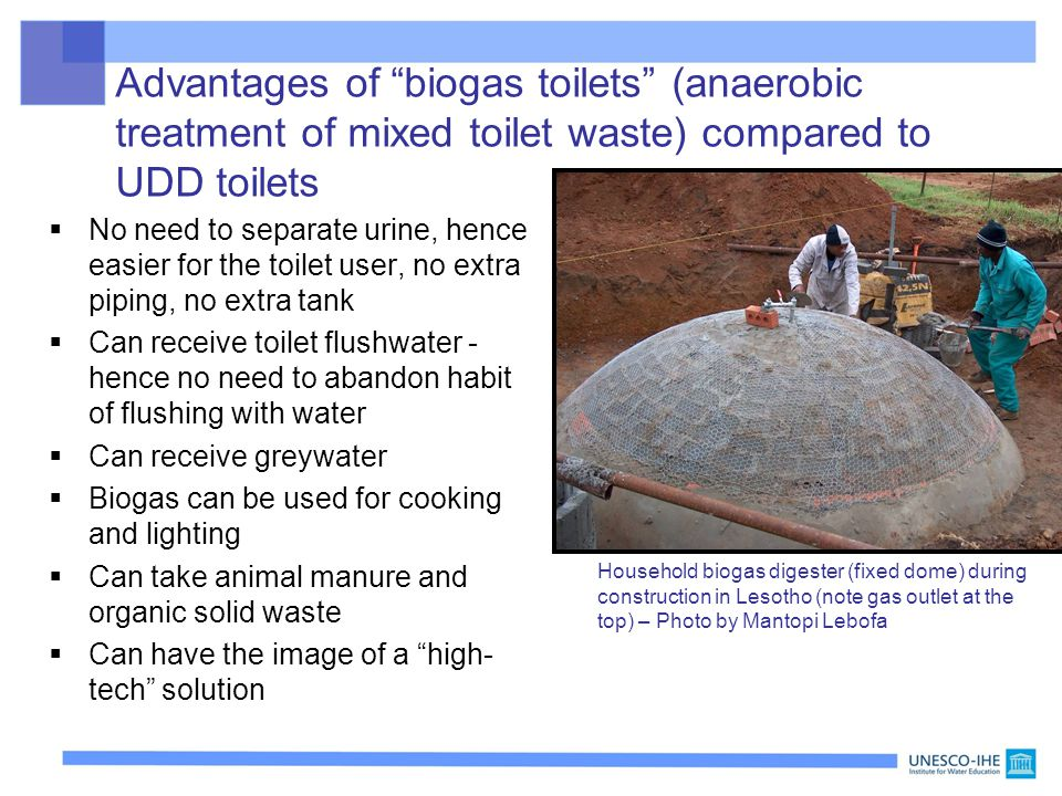 Advantages of biogas toilets (anaerobic treatment of mixed toilet waste) compared to UDD toilets