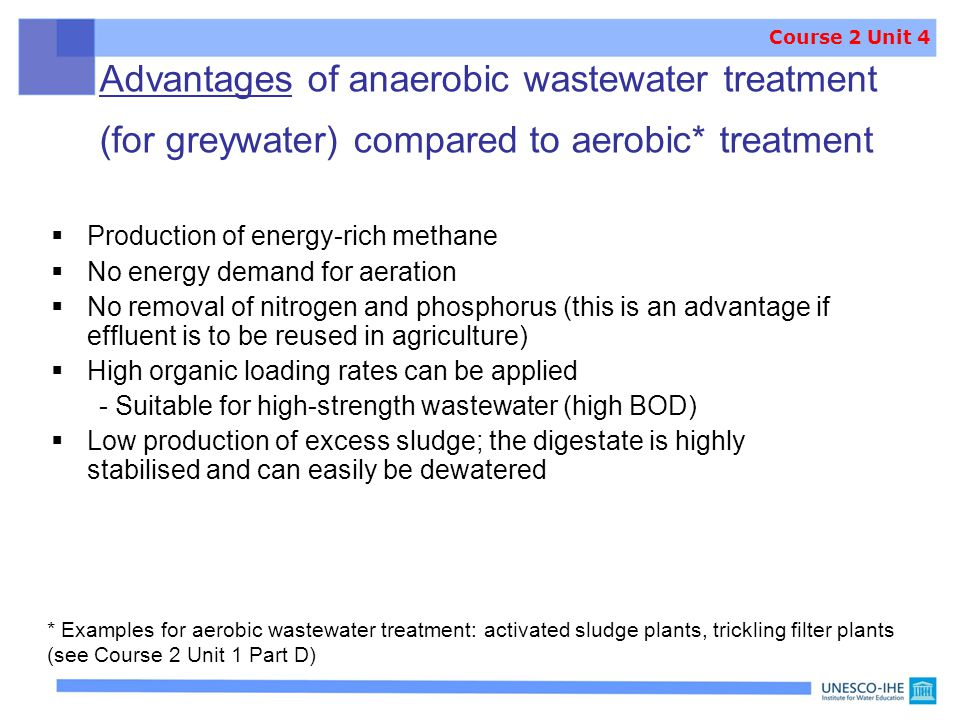 Course 2 Unit 4 Advantages of anaerobic wastewater treatment (for greywater) compared to aerobic* treatment.