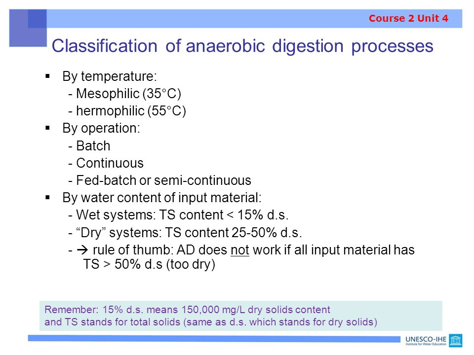 Classification of anaerobic digestion processes