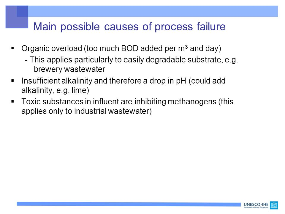Main possible causes of process failure