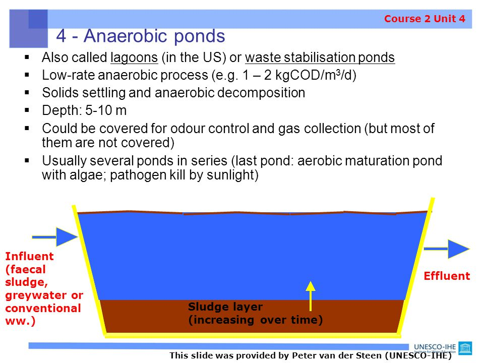 4 - Anaerobic ponds Course 2 Unit 4. Also called lagoons (in the US) or waste stabilisation ponds.