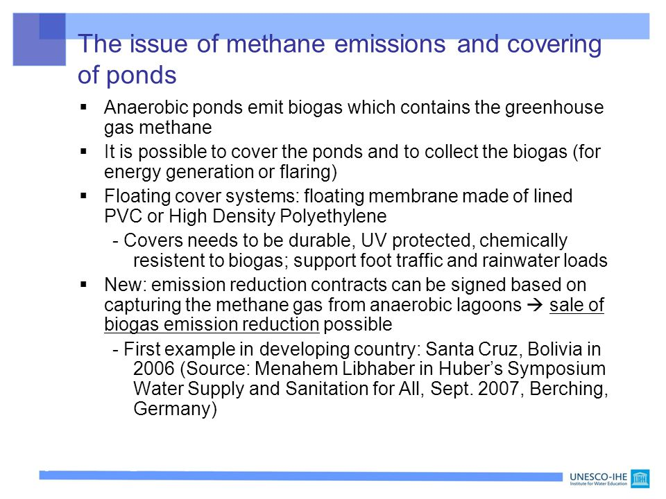 The issue of methane emissions and covering of ponds