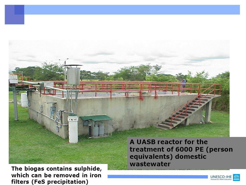 A UASB reactor for the treatment of 6000 PE (person equivalents) domestic wastewater
