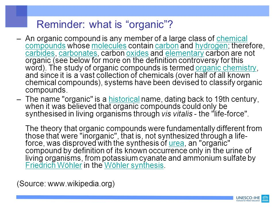 Reminder: what is organic
