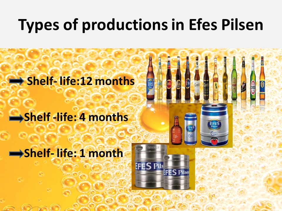 Types of productions in Efes Pilsen