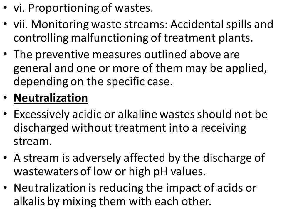 vi. Proportioning of wastes.