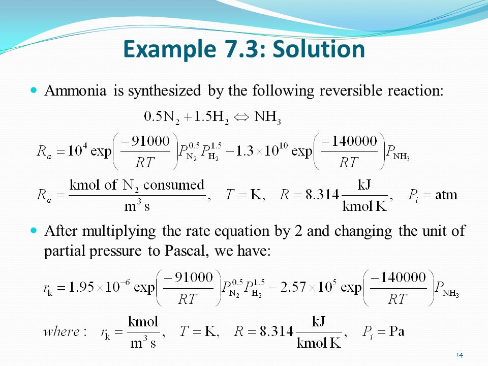 Example 7.3: Solution Ammonia is synthesized by the following reversible reaction:
