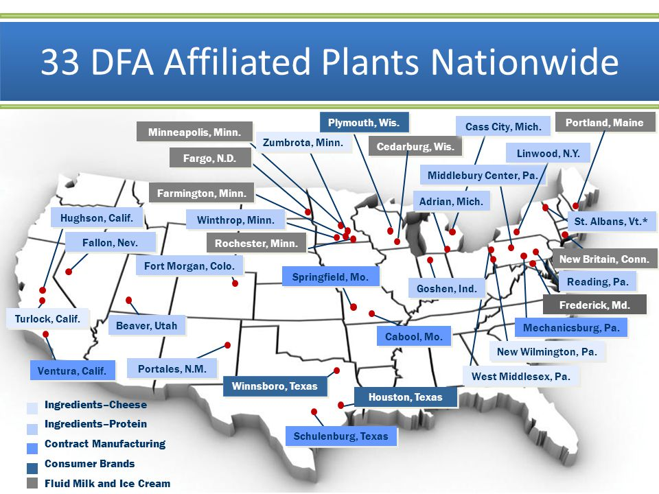 33 DFA Affiliated Plants Nationwide