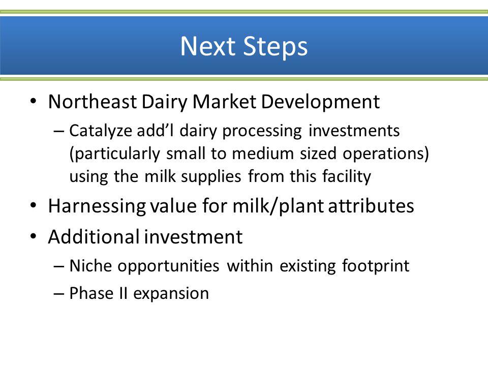 Next Steps Northeast Dairy Market Development