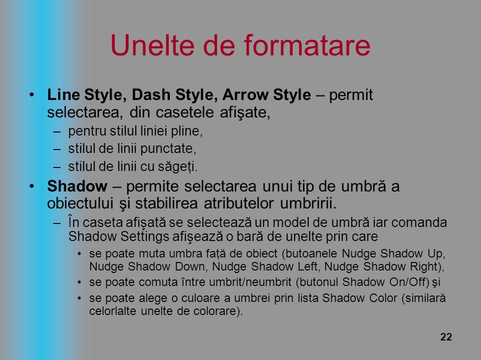 Unelte de formatare Line Style, Dash Style, Arrow Style – permit selectarea, din casetele afişate, pentru stilul liniei pline,