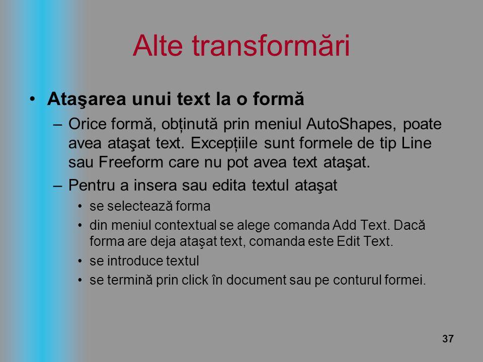 Alte transformări Ataşarea unui text la o formă