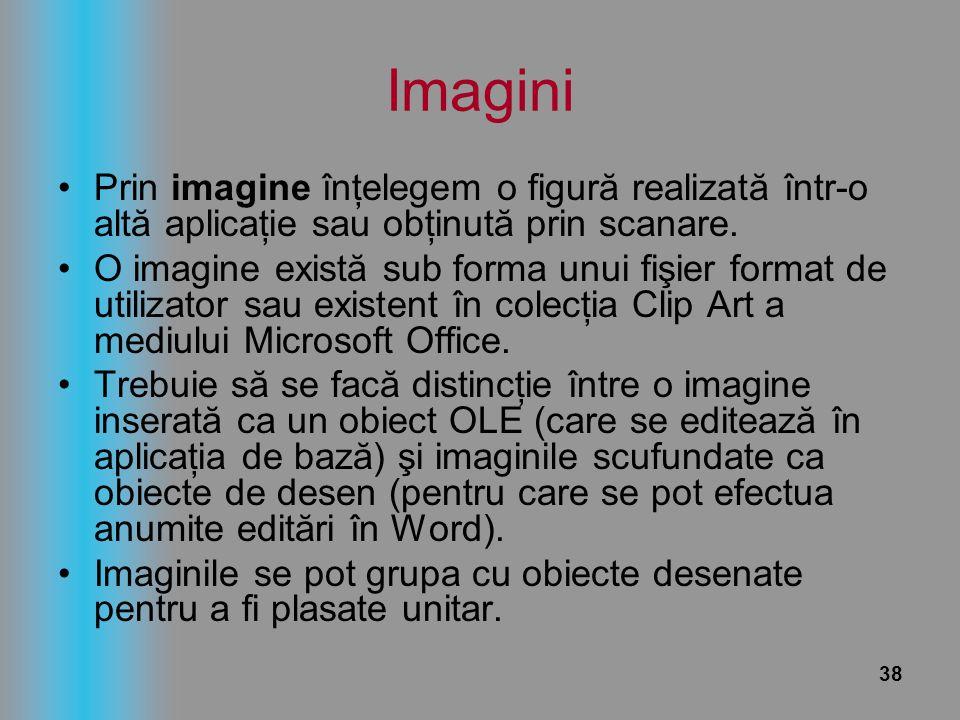 Imagini Prin imagine înţelegem o figură realizată într-o altă aplicaţie sau obţinută prin scanare.