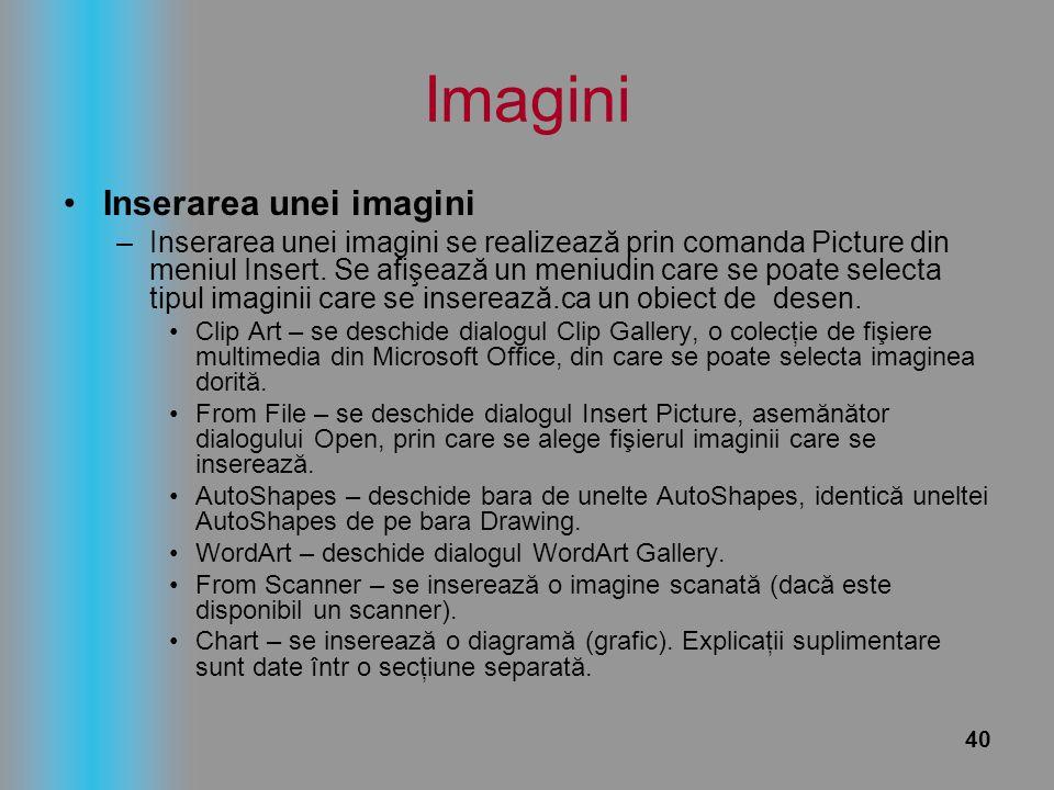 Imagini Inserarea unei imagini
