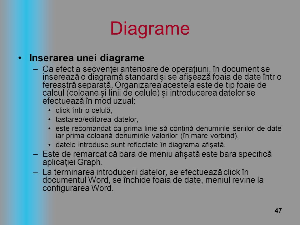 Diagrame Inserarea unei diagrame
