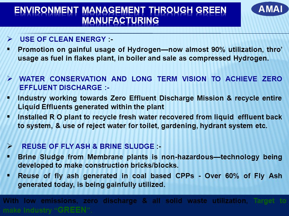 ENVIRONMENT MANAGEMENT THROUGH GREEN MANUFACTURING