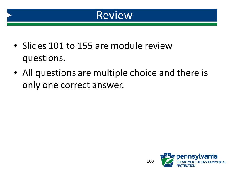 Review Slides 101 to 155 are module review questions.