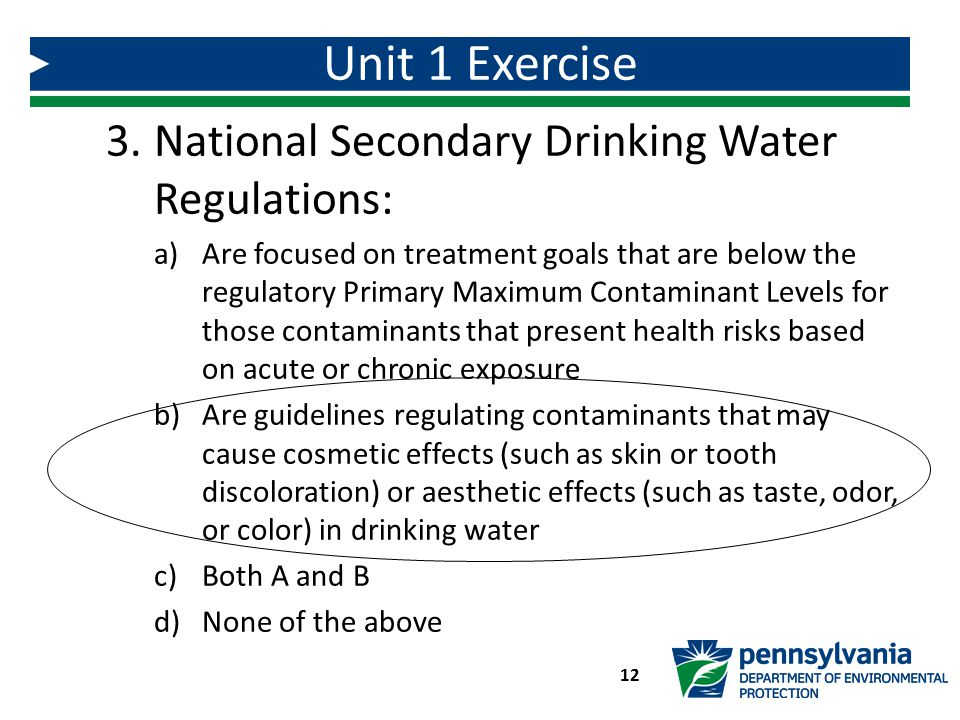 Unit 1 Exercise National Secondary Drinking Water Regulations:
