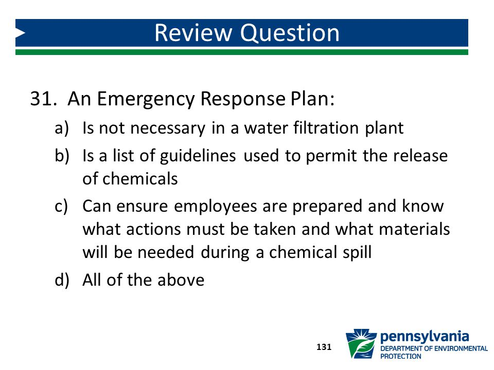 Review Question An Emergency Response Plan:
