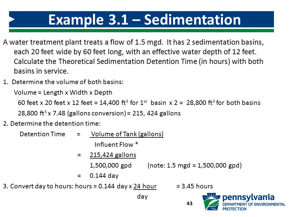 Example 3.1 – Sedimentation Detention Time Calculation