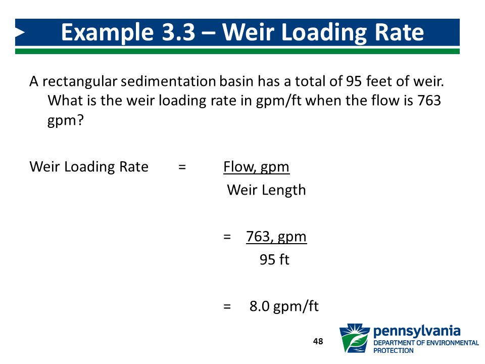 Example 3.3 – Weir Loading Rate Calculation
