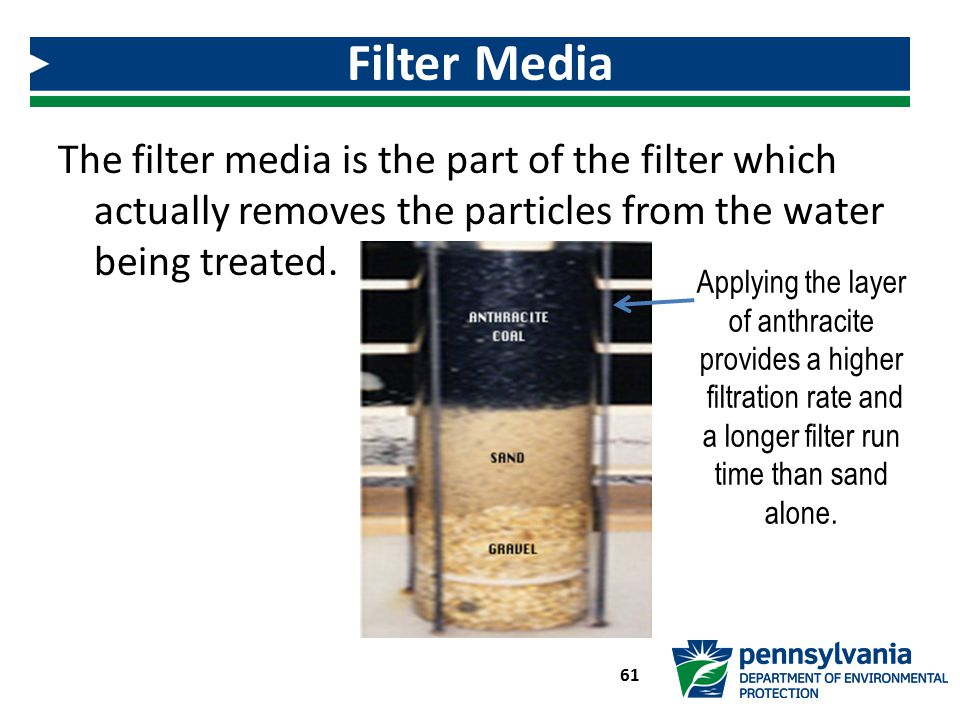 Filter Media The filter media is the part of the filter which actually removes the particles from the water being treated.