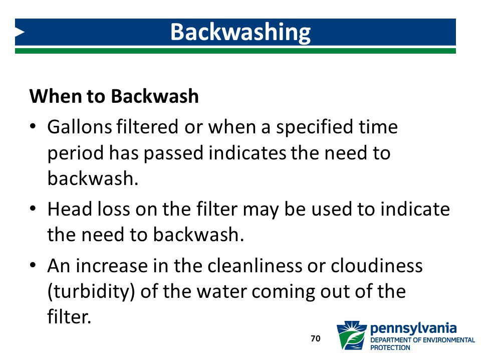 Backwashing When to Backwash