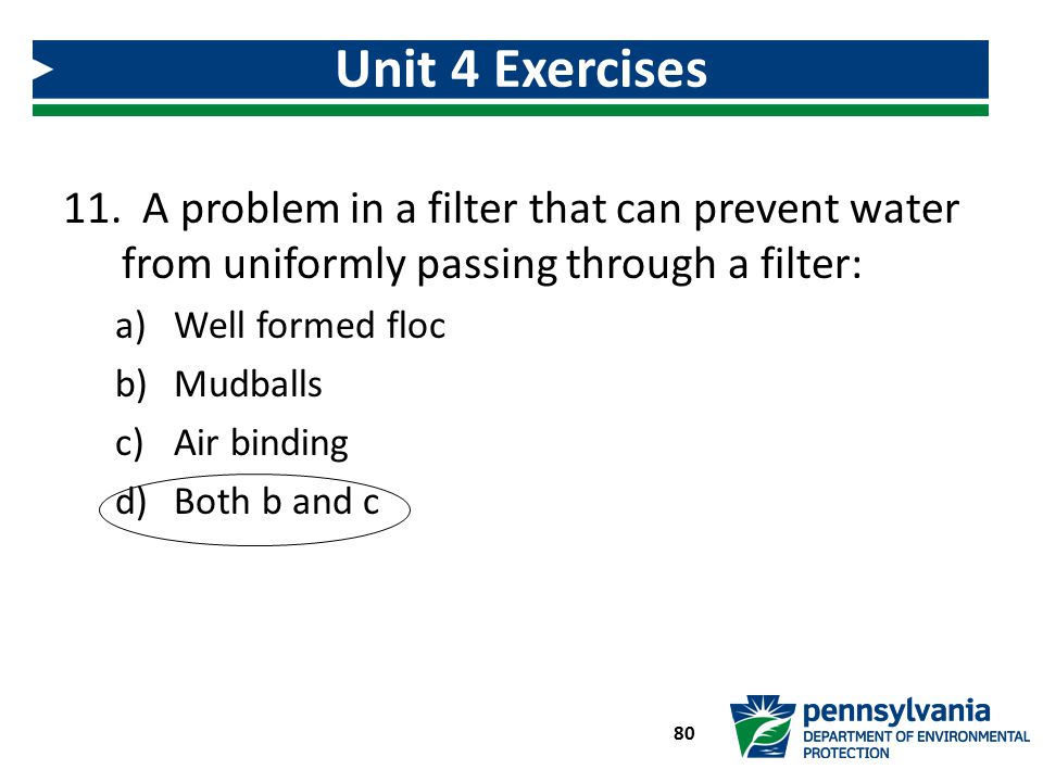 Unit 4 Exercises A problem in a filter that can prevent water from uniformly passing through a filter: