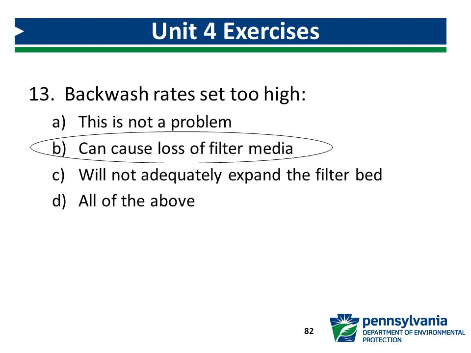 Unit 4 Exercises Backwash rates set too high: This is not a problem
