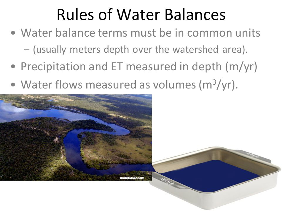 Rules of Water Balances