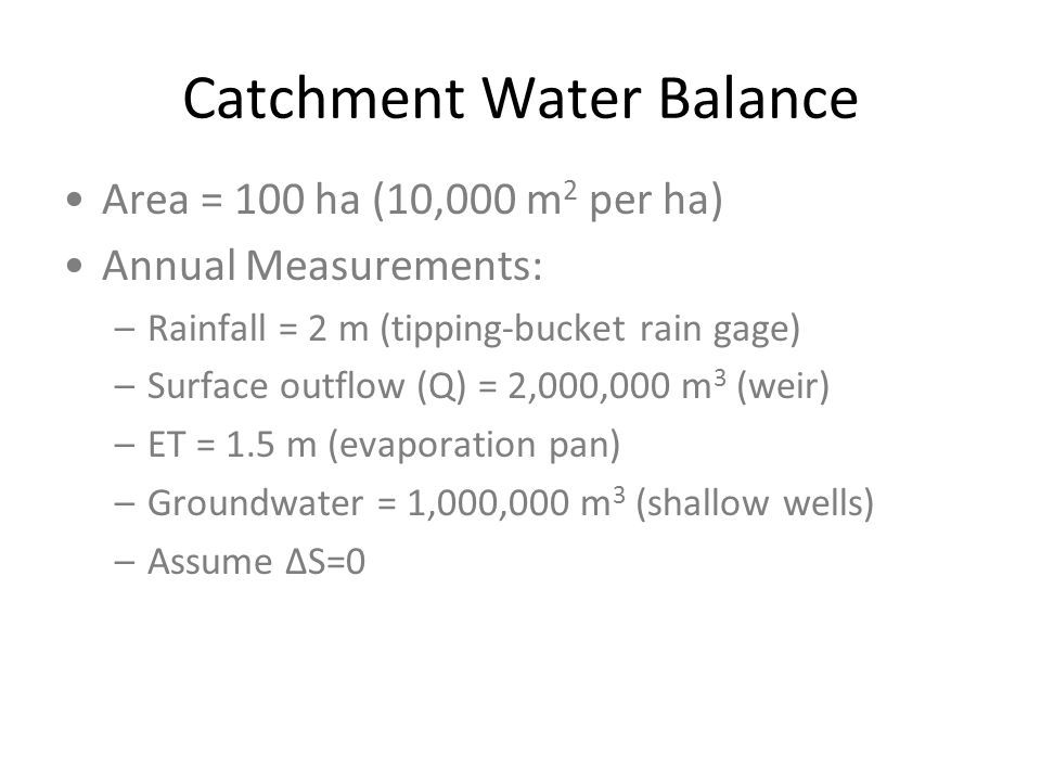 Catchment Water Balance