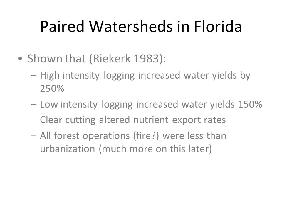 Paired Watersheds in Florida
