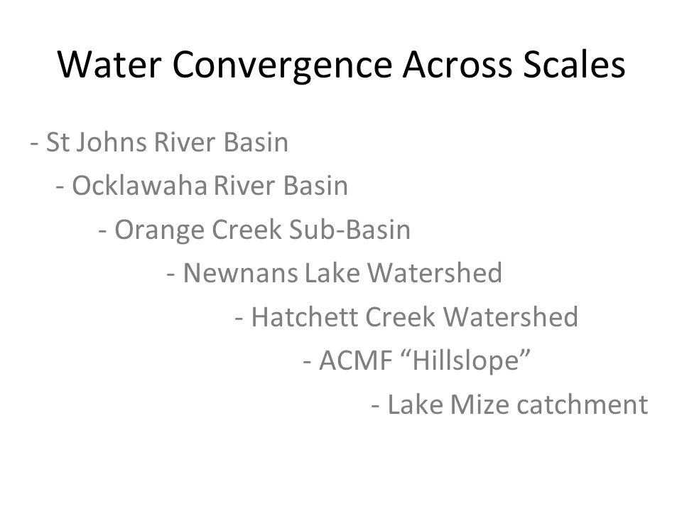 Water Convergence Across Scales