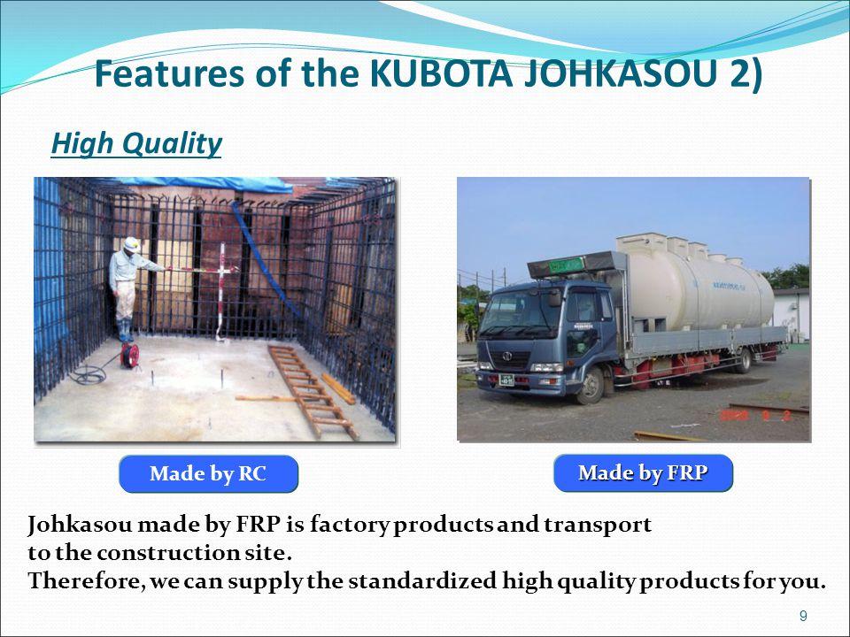 Features of the KUBOTA JOHKASOU 2)