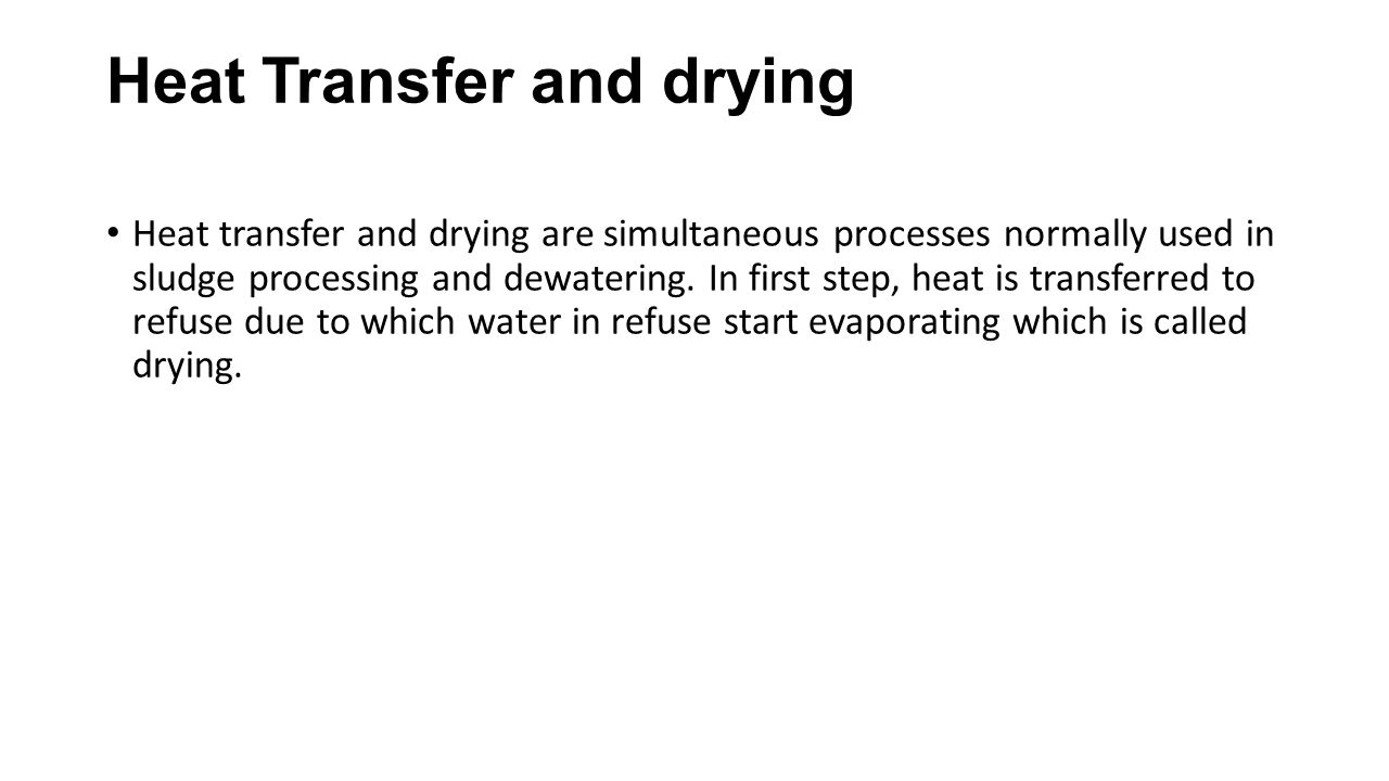 Heat Transfer and drying