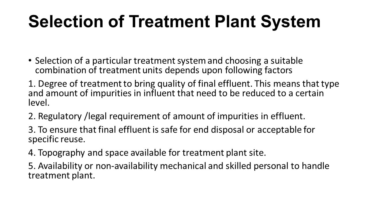 Selection of Treatment Plant System