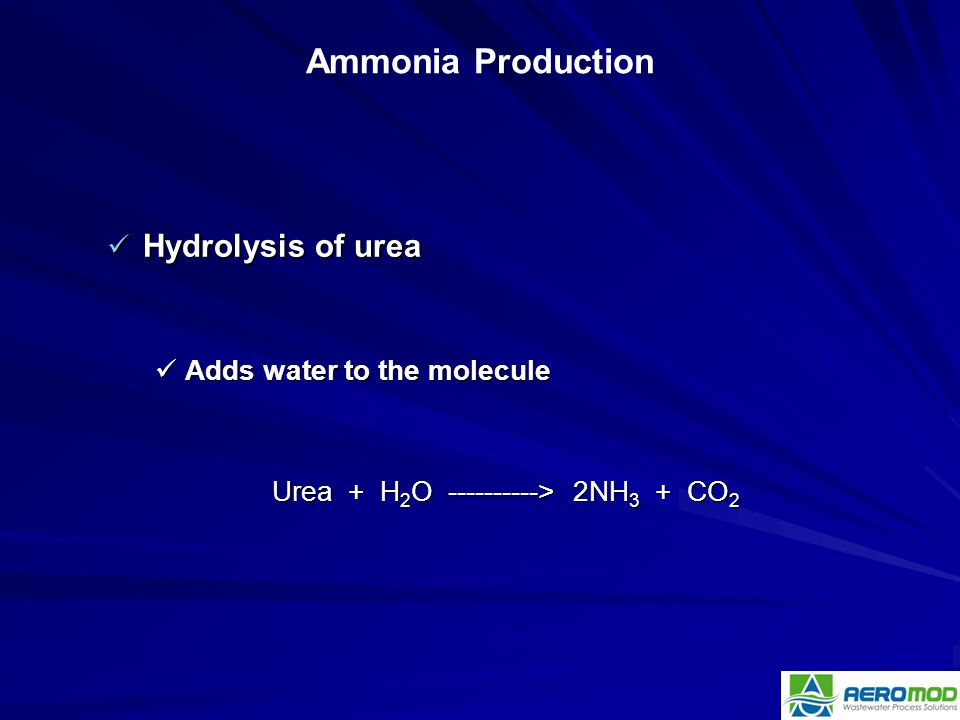 Urea + H2O ----------> 2NH3 + CO2