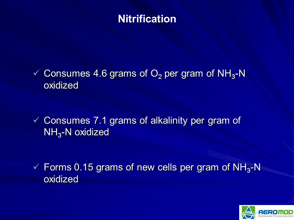 Nitrification Consumes 4.6 grams of O2 per gram of NH3-N oxidized