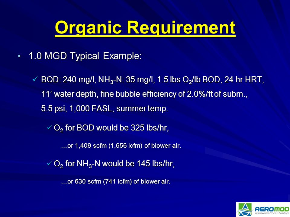 Organic Requirement 1.0 MGD Typical Example: